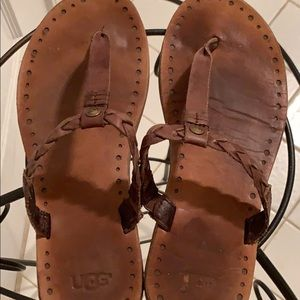 Brown leather Ugg sandals